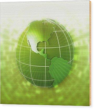 Globe Focus On Americas, Digital Wood Print by Chad Baker
