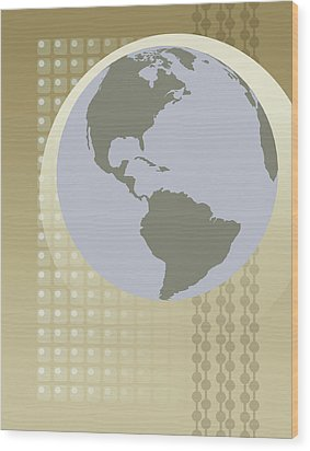 Globe Showing North And South America Wood Print by Don Bishop