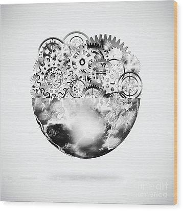Globe With Cogs And Gears Wood Print by Setsiri Silapasuwanchai