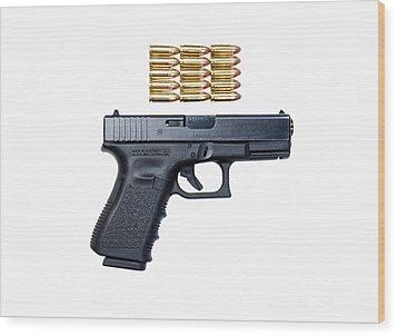 Glock Model 19 Handgun With 9mm Wood Print by Terry Moore