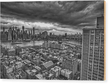 Gloomy New York City Day Wood Print by Jose Vazquez