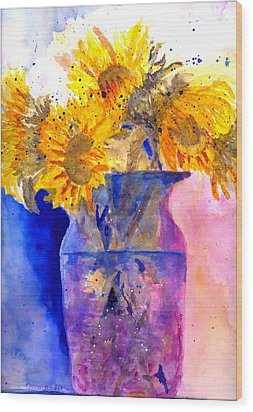 Glorious Sunflowers Wood Print by MaryAnne Ardito
