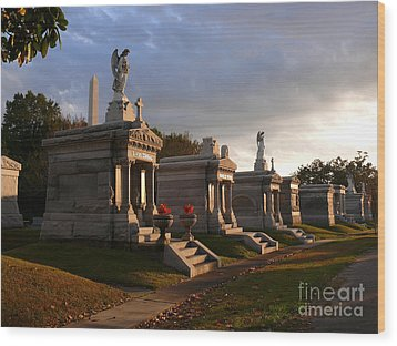 Wood Print featuring the photograph Glowing Cemetery by Jeanne  Woods