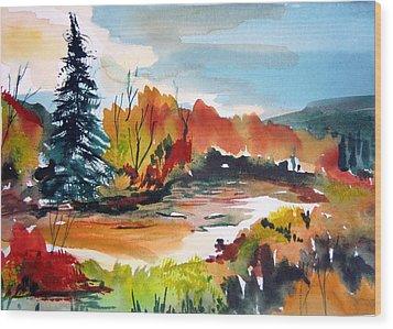 Glowing In Autumn Wood Print by Mindy Newman