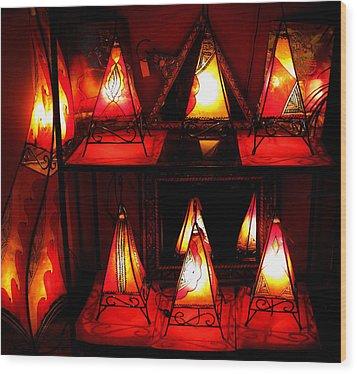 Glowing Lanterns Wood Print by Rose Pasquarelli