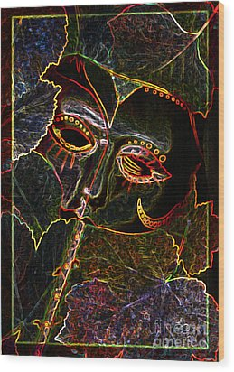 Glowing Mask With Leaves Wood Print by Nareeta Martin