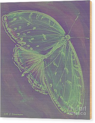 Go Green Butterfly Wood Print by M C Sturman