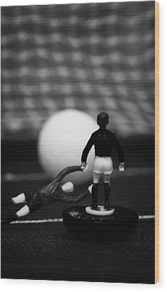Goalkeeper Diving To Foul Player In The Box Football Soccer Scene Reinacted With Subbuteo  Wood Print by Joe Fox