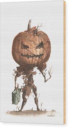Goblin Tree Trick Or Treat Wood Print by Sean Seal