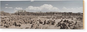Wood Print featuring the photograph Goblin Valley Desert Large Panorama by Mike Irwin