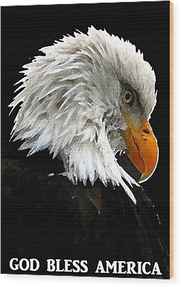 Wood Print featuring the digital art God Bless America by Carrie OBrien Sibley