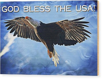Wood Print featuring the digital art God Bless The Usa by Carrie OBrien Sibley