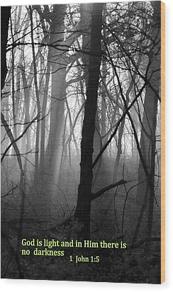 God Is Light Wood Print by Rick Rauzi