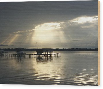 God Left The Light On For You Wood Print by Tiffney Heaning