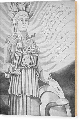 Goddess Athena Wood Print by Kyra Belan