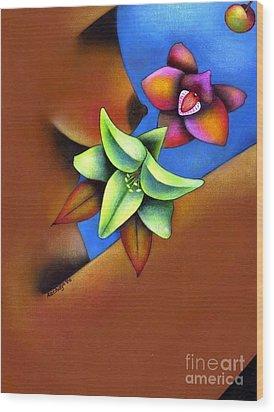 Goddess In Bloom Wood Print by Mucha Kachidza