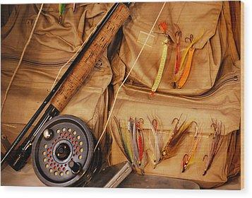 Goin Fishin Wood Print by Skip Willits