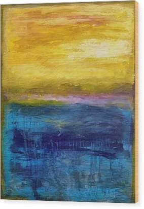 Gold And Pink Sunset Ll Wood Print by Michelle Calkins