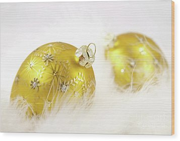 Gold Balls With Feathers Wood Print by Sandra Cunningham