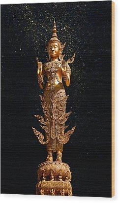 Gold Buddha  Wood Print by Bou Lemon