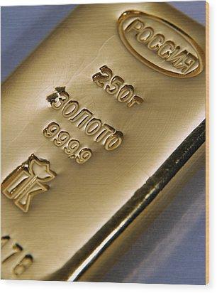 Gold Bullion Wood Print by Ria Novosti