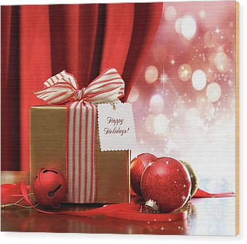 Gold Christmas Gift Box And Ornaments With Sparkle Lights  Wood Print by Sandra Cunningham