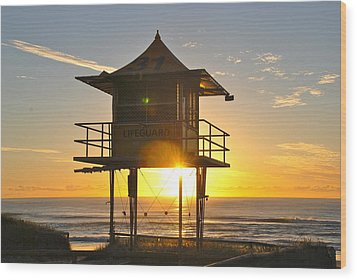 Wood Print featuring the photograph Gold Coast Life Guard Tower by Eric Tressler