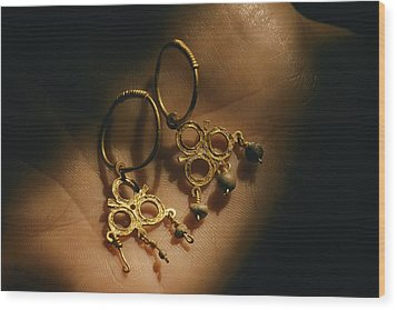 Gold Earrings Hung With Pearls Are Part Wood Print by Ira Block