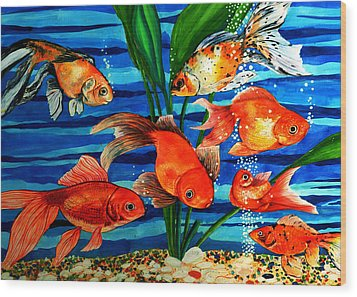 Gold Fishes Wood Print by Johnson Moya