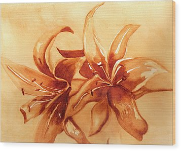 Gold Lilies Wood Print