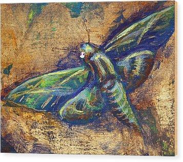 Gold Moth Wood Print