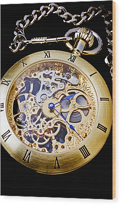 Gold Pocket Watch Wood Print by Garry Gay