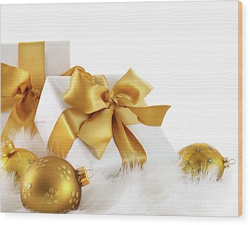Gold Ribboned Gifts With Christmas Balls  Wood Print by Sandra Cunningham