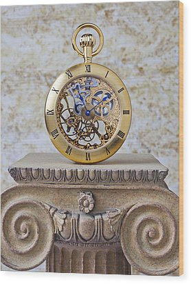 Gold Skeleton Pocket Watch Wood Print by Garry Gay