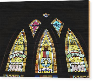Gold Stained Glass Window Wood Print by Thomas Woolworth