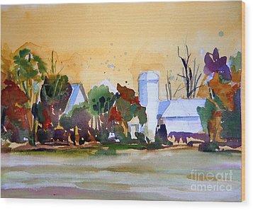 Golden Autumn Farm Wood Print by Mindy Newman