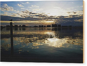 Wood Print featuring the photograph Golden Bayside by Jalai Lama