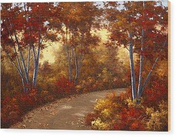 Golden Birch Wood Print by Diane Romanello