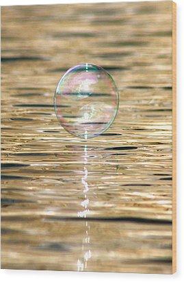 Golden Bubble Wood Print by Cathie Douglas