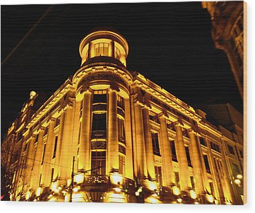 Golden Building At Night Wood Print by Kirsten Giving