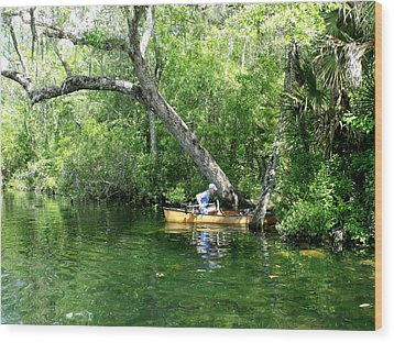 Golden Canoe Launch Wood Print by Marilyn Holkham