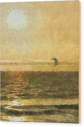 Golden Day Painterly Wood Print by Ernie Echols