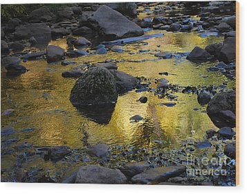 Golden Fall Reflection Wood Print by Heather Kirk