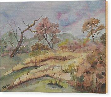 Golden Field Wood Print by Barbara McGeachen
