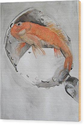 Golden Fish - One Wish Wood Print by Ema Dolinar Lovsin