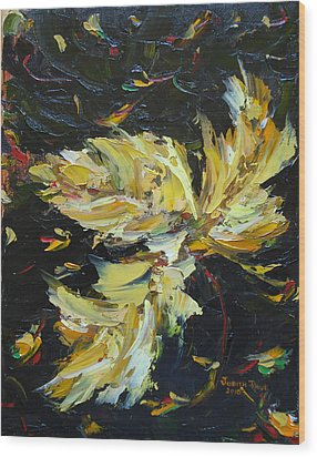 Wood Print featuring the painting Golden Flight by Judith Rhue