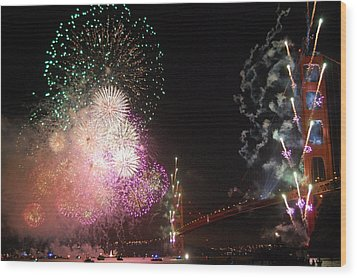 Golden Gate Bridge 75th Anniversary Fireworks Wood Print by Michael Meinberg