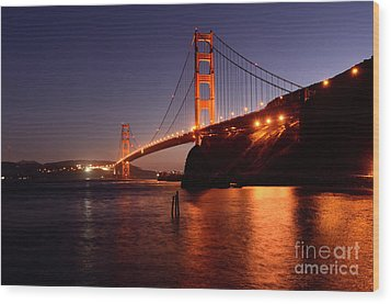 Golden Gate Bridge At Night 2 Wood Print by Bob Christopher