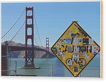 Golden Gate Stickers Wood Print by Cedric Darrigrand
