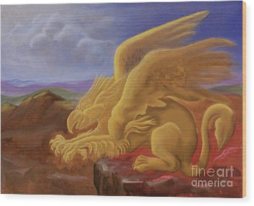 Golden Gryphon On Top Of The Alps Wood Print by Evelyn Cammarano